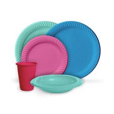 coloured tableware